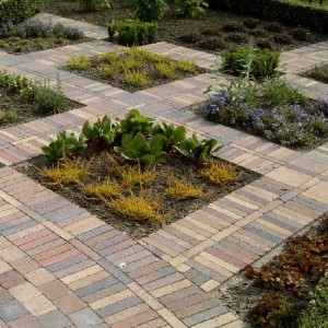 Uitvoering bestrating en beplanting in vierkanten